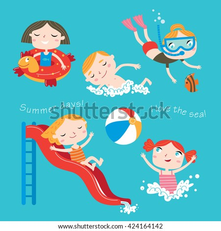 Summer child's outdoor activities. Beach holiday. Happy childhood. Vector set on a blue background. Happy boys and girls on the sea. - stock vector