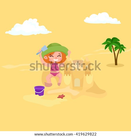 Summer children. Kids playing in the sand on beach - stock vector