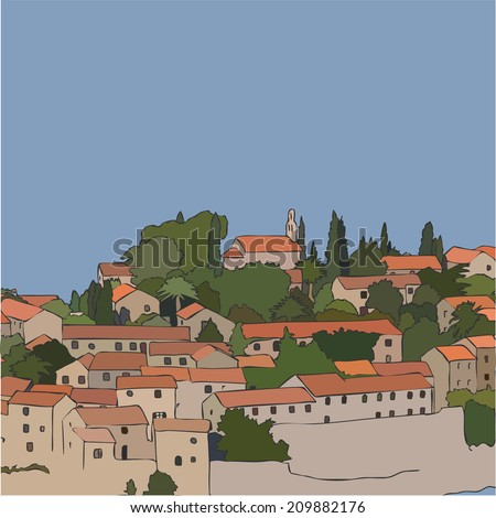 Summer ciityscape. The narrow medieval street view with old houses in the Mediterranean town. Vector illustration.  - stock vector