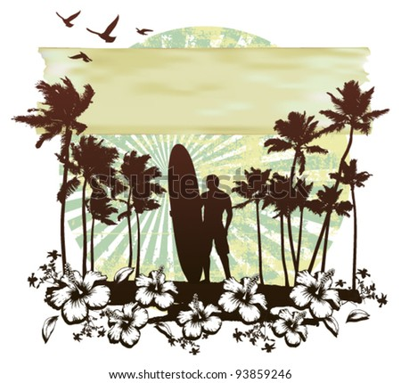 summer circle scene with hibiscus surfer and palms - stock vector