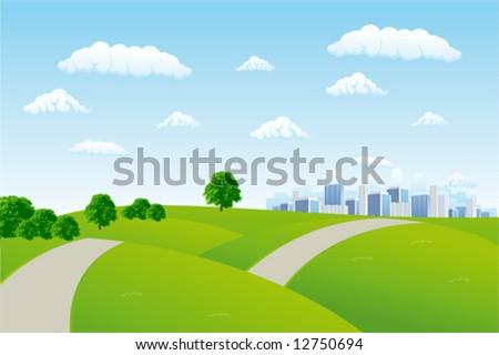 Summer cityscape - stock vector