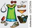 summer clothes - stock vector