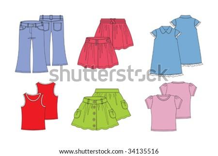summer clothes for girl - stock vector