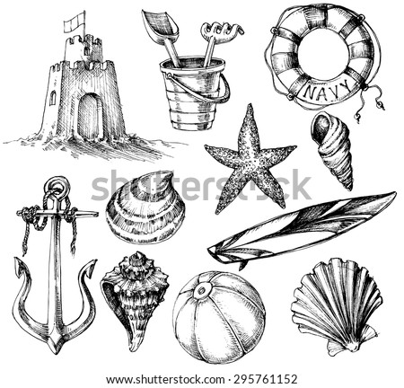 Summer collection, marine life and beach toys ink drawings - stock vector