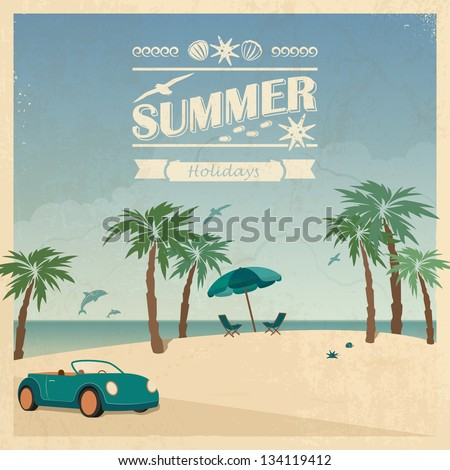 Summer color background in retro style with car and palm trees on the beach. - stock vector