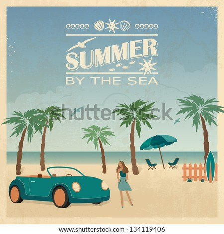 Summer color background in retro style with car, palm trees and young woman on the beach. - stock vector