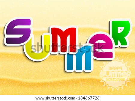 Summer Colored Lettering on a sandy background