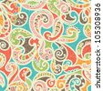 Summer-colored Stylized Abstract Seamless Hand-Drawn Paisley Pattern With Shadows - stock photo
