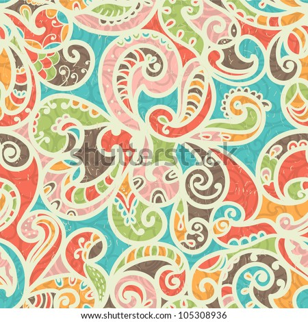 Summer-colored Stylized Abstract Seamless Hand-Drawn Paisley Pattern With Shadows - stock vector