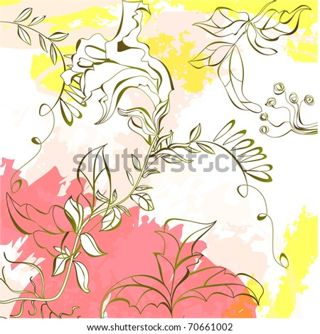 Summer colorful background with pink and yellow splashes
