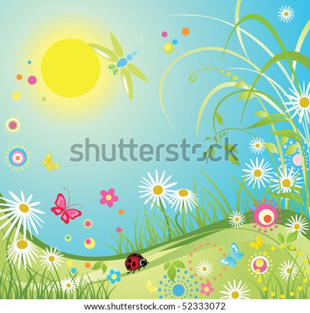 Summer colorful card - stock vector