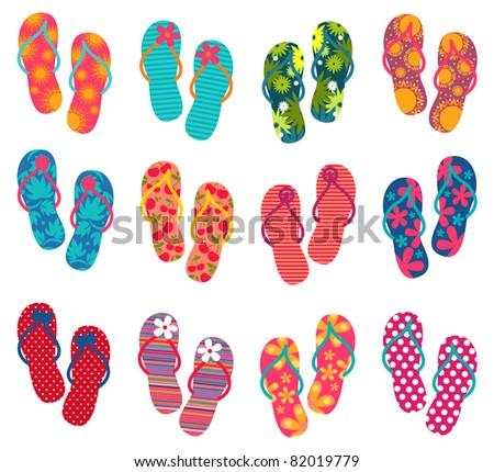 Summer colorful flip flops set - stock vector