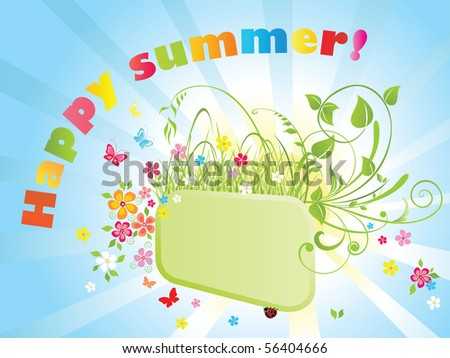 Summer colorful frame - stock vector