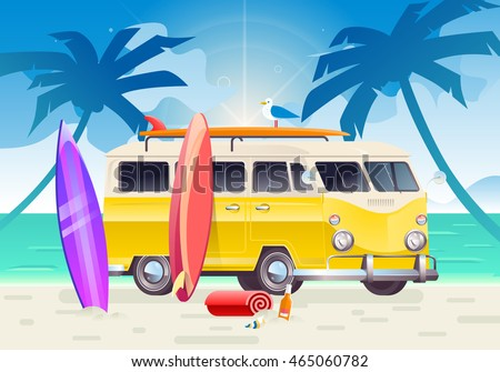 Summer colorful illustration. Camper van, wagon, truck. Summer surf, surfing vacation. Travel van on beautiful ocean landscape background with palm trees.
