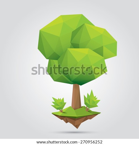 summer Conceptual polygonal geometric tree. Abstract vector Illustration, low poly style. Stylized design element. Background design for banner, poster, flyer, cover, brochure. Logo design.