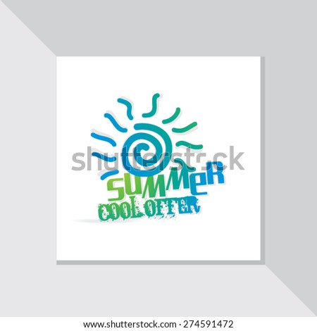 summer cool offer with sun vector illustration - stock vector