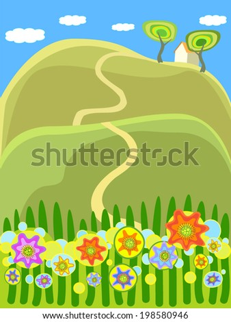 Summer countryside landscape, the house on a hill. Cartoon vector picture for background, card or what you want.