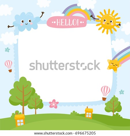 Summer Creative Frame Illustration Cute Summer Stock Vector ...