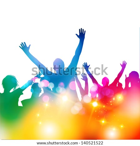 Summer Crowd Party - vector illustration - stock vector