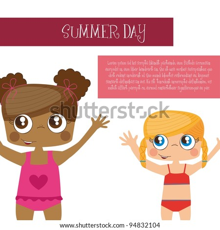 Summer day background with girls, Vector Illustration - stock vector