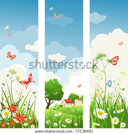 Summer day banners - stock vector
