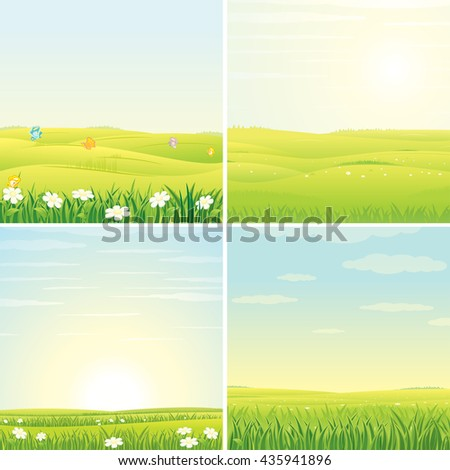 Summer Day. Set of Vector Images with Sunny Landscapes. Picture Ready for Your Text and Design. - stock vector