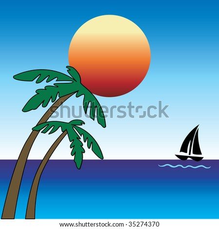 Summer day with Palm Trees and Sailboat.