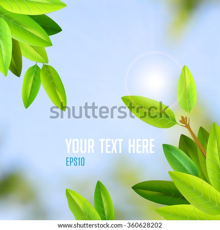 summer day with sunlight and fresh green leaves vector background - stock vector