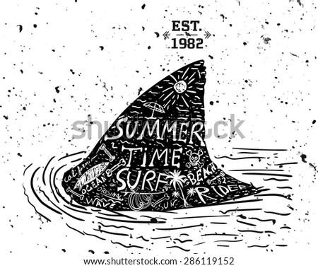 Summer design, grunge style - stock vector