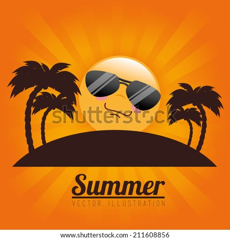 Summer design over orange background, vector illustration