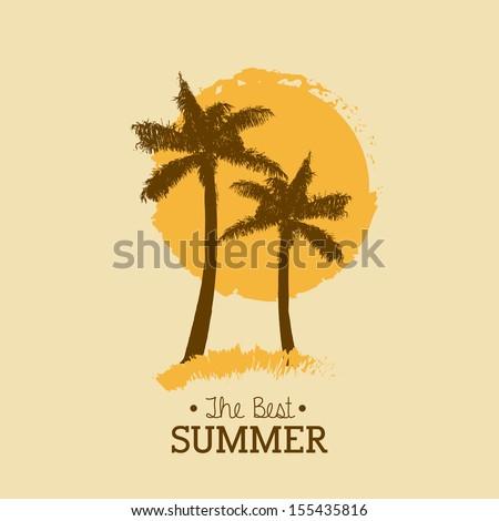 summer design over pink background vector illustration   - stock vector