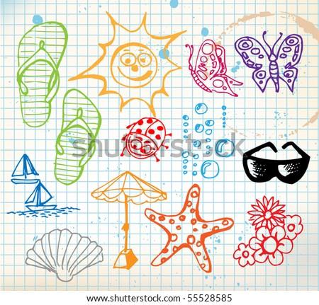 Summer doodle elements - sun, ocean, flower - stock vector