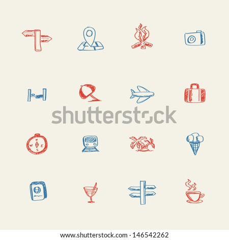 Summer doodle icons - stock vector