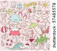 summer doodle set - stock vector