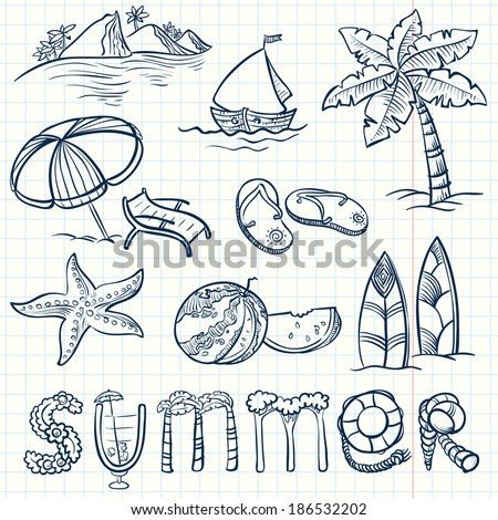 Summer doodles set - stock vector