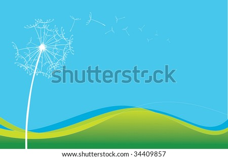 Summer dreams - A stylised dandelion blows in the breeze - stock vector