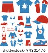 summer dress & clothes icons set, vector - stock vector