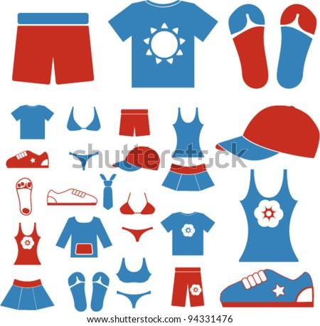 summer dress & clothes icons set, vector - stock vector