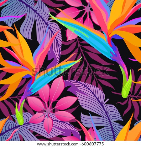 Summer Exotic Floral Tropical Palm Leaves Background Vector Abstract Seamless Pattern Plant Flower Nature