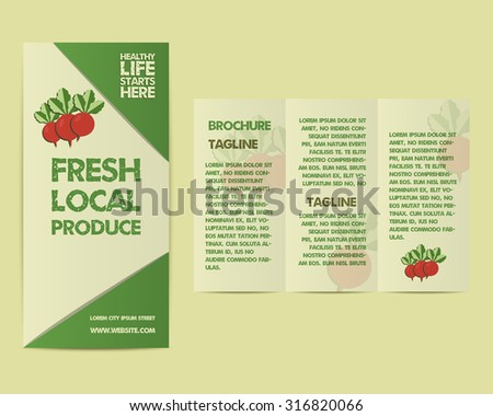 Summer Farm Fresh flyer template or brochure design with radish and text. Mock up design with shadow. Best for natural shop, organic fairs, markets, eco events and local companies. Vector illustration - stock vector