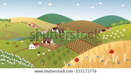 Summer farmer landscape