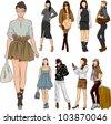Summer fashion girl set - stock vector
