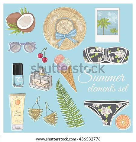 Summer fashion vector accessories set. Background  with summer elements: sunglasses, jewelery, makeup, swimsuit, cherry, flowers and palm trees - stock vector