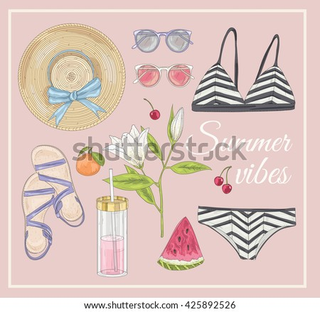 Summer fashion vector accessories set. Background with sunglasses, shoes, swimsuit, hat, watermelon and flowers. - stock vector