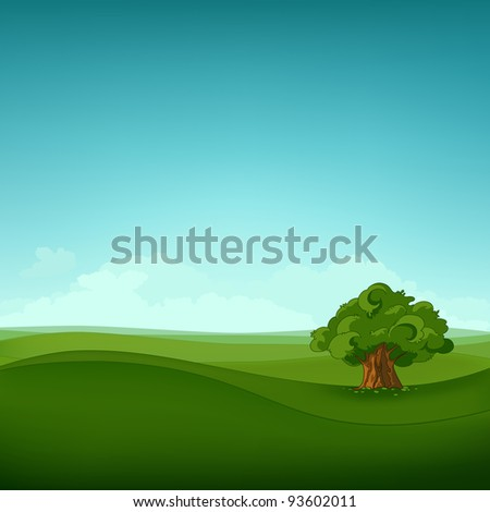 Summer Field Landscape. Eniroment Background. Vector Illustration. - stock vector
