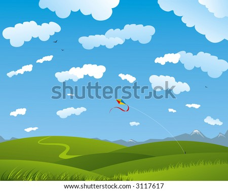 Summer field with kite and clouds