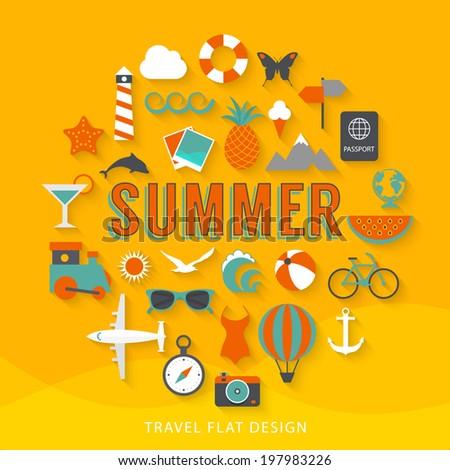 Summer flat design illustration  - stock vector