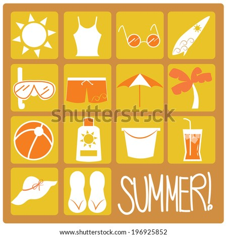 Summer Flat Icons - stock vector