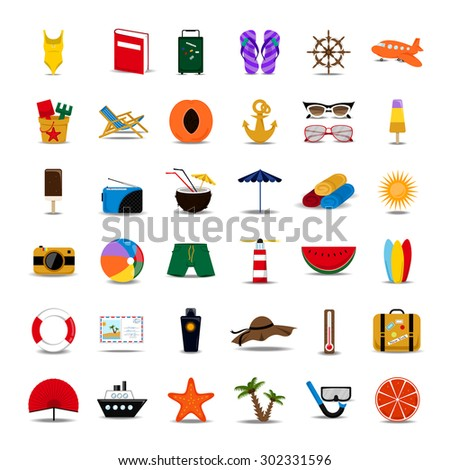 Summer Flat Icons Set - Isolated On White Background, Vector Illustration, Graphic Design. For Web, Websites, Print, Presentation Templates, Mobile Applications And Promotional Materials - stock vector