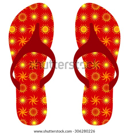 Summer flip flops with yellow sun illustrations
